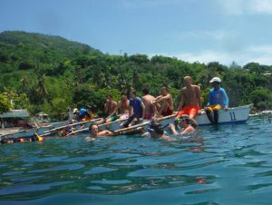 Group on the local paddle boat in Oslob
